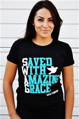 Another good idea for staff t-shirts. Says something everyone would know (SWAG) but something that will make others curious (saved with amazing grace).