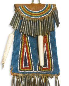 Southern plains strike-a-light pouch. I love that blue! Medicine Bag, Native Beadwork, Native American, Southern, Pouch, Blue, Native Americans, Sachets, Porch