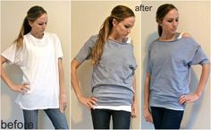 Trash To Couture: XL Mens Tee Sewn Into Dolman. Directions + Video