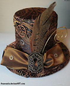 Really like the idea of drawing from Steampunk influence for accessories like hats. [✿ Timeless Steampunk Mini Victorian Top Hat with Keyhole and Gears ✿] Costume Steampunk, Viktorianischer Steampunk, Steampunk Design, Steampunk Clothing, Steampunk Fashion, Fashion Goth, Steampunk Necklace, 1930s Fashion, Fashion Vintage