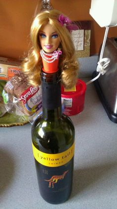 Own your very own Barbie head wine stopper, made with a Rabbit Wine stopper and Barbie Doll Head. I will customize for you with a Special Edition Barbie! Barbie Doll Head, Barbie And Ken, Recycled Toys, Upcycled Crafts, Doll Painting, Kitsch, Living Dolls, Wine Stoppers, Creepy Dolls