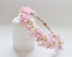 Peach Flower Girl Crown Silk Flower Crown by blueorchidcreations