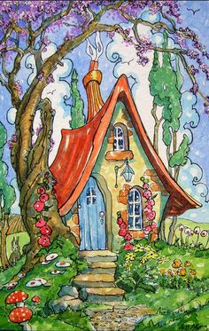 Storybook Gardens, Storybook Cottage, Watercolor And Ink, Watercolor Paintings, Fairy Village, Art Painting Gallery, Little Cottages, Cute Cottage, Painted Cottage