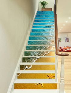 beach stairs shell Risers Decoration Photo Mural Vinyl Decal Wallpaper US Beach Stairs, Home Engineering, Stair Art, Decoration Photo, 3d Interior Design, Marble Stairs, View Wallpaper, Waves Wallpaper, Ideas Hogar