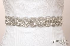 ANYA - Clear Rhinestone Beaded Bridal Wedding Sash. $175.00, via Etsy.