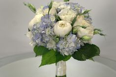 white peonies and blue hydrangeas -bouquet for bride