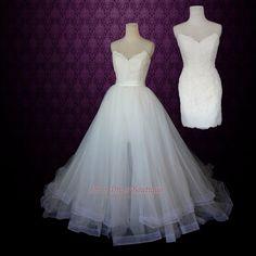 Strapless Two Piece Convertible Wedding Dress   Lace Wedding Dress   Ivory Wedding Dress   Short Wedding Dress   Jane by ieie on Etsy https://www.etsy.com/listing/209394353/strapless-two-piece-convertible-wedding