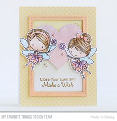 Fairy Happy Stamp Set and Die-namics, Single Stitch Line Rectangle Frames Die-namics, Stitched Heart STAX Die-namics - Melania Deasy  #mftstamps