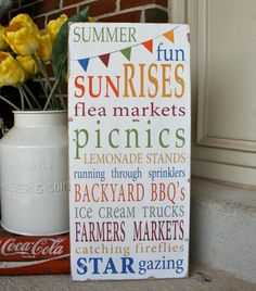 Summer Fun with Bunting Typography Word Art Sign - Limited Edition $95.00