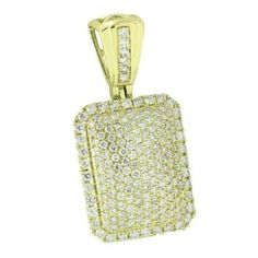 Master Of Bling Iced Out Custom Pendant Dog Tag Look Genuine Diamonds 10k Yellow Gold Mens