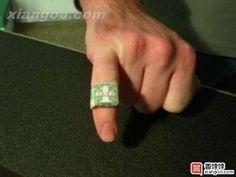 origami dollar ring