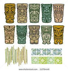 Vintage Carved Polynesian Tiki Totem Vector Idol Masks - stock vector Tiki Hawaii, Hawaiian Tiki, Totems, Doodles Zentangles, Kho Lanta, Tiki Totem, Tiki Tiki, Tiki Head, Polynesian Art