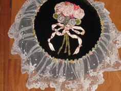 AMAZING EARLY HndMd SILK RIBBONWORK&ROCOCO ROSETTE &BRUSSELS LACE BOUDIOR PILLOW