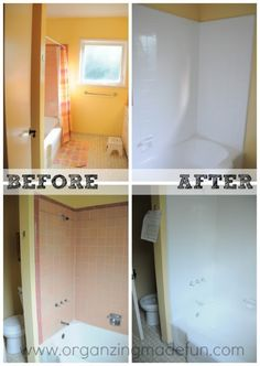 Before and After: Kids shower and tub surround   OrganizingMadeFun.com