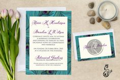 Peacock Wedding Invitation Elegant Wedding by SugarSpiceInvitation