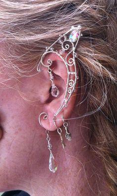 Fairy Elf Ears with Double Teardrop Crystals in by StarlitSkies