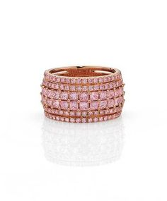 Cerrone pink diamond ring in rose gold, set with princess Pink Diamond Wedding Rings, Pink Diamond Ring, Diamond Jewelry, Diamond Cuts, Argyle Pink Diamonds, Colored Diamonds, Perfume, Fine Jewelry, Unique Jewelry