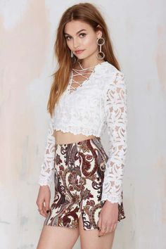 Just in Lace Sheer Top - Cropped