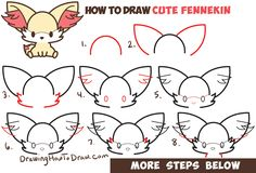 How to Draw Fennekin (Cute Kawaii/Chibi) from Pokemon with Easy Step by Step Drawing Tutorial for Kids & Beginners