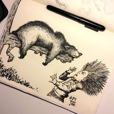 Inktober Drawing 24 - We're in the home stretch! Going to attempt a fast sprint to the end of this marathon with 8 more drawings :/ This one is Olivia being attacked by a sleeping bear. #inktober #inktober2016