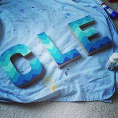 CLE ombré chevron pattern letters #cleveland letters from Joanne's and acrylic paint!
