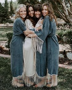 Custom Bridal Party Robes handmade from Sustainable Fabrics with Bohemian Macrame Trim - perfect for bridesmaid gifts and getting ready for the wedding! Bohemian Bridesmaid, Bridesmaid Dress Colors, Short Bridesmaid Dresses, Bridesmaid Gifts, Bridal Dresses, Bridesmaids, Bridal Party Robes, Bridal Parties, Mumu Wedding