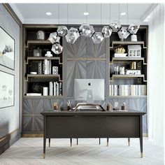 Your home office should be a place that inspires both your creativity and productivity. - - Home Office Ideas Setup Furniture Desks Chairs Tables decorations Decor Office Interior Design, Office Interiors, Luxury Interior, Interior Modern, Stylish Interior, Office Designs, Modern Luxury, Home Office Space, Home Office Decor