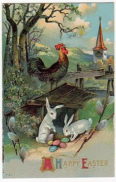 Easter- Rooster and bunnies with church in background