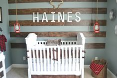 Wood Accent Wall in this Rustic Alaska Inspired Nursery - perfect baby boy nursery! Baby Boy Nursery Themes, Baby Boy Rooms, Baby Boy Nurseries, Nursery Ideas, Themed Nursery, Project Nursery, Nursery Room, Kids Bedroom Designs, Nursery Design