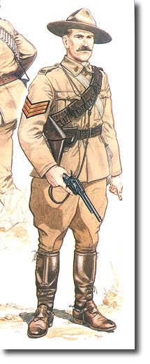 Lord Strathcona's Horse A Sergeant of this Canadian Regiment shown in the service dress worn whilst on active service in South Africa 1900 boer war art Military Insignia, Military Art, Military History, Military Uniforms, Canadian Soldiers, Canadian Army, British Army Uniform, British Soldier, Commonwealth