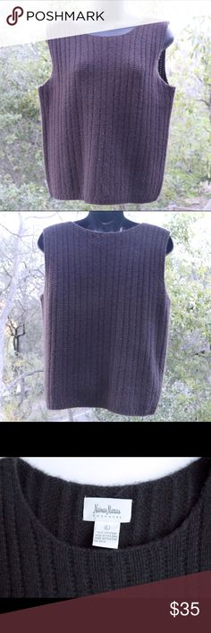 Neiman Marcus cashmere top This cozy, gently worn Neiman Marcus cashmere can be thought of as a sleeveless top or a vest. Plain deep brown goes with a lot of other colors🍁 Neiman Marcus Tops