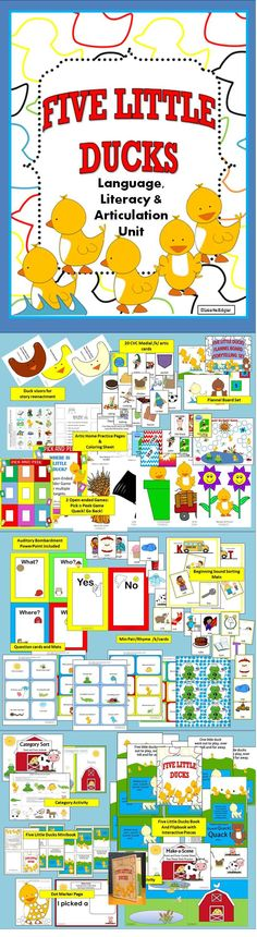 $ 15 activities to teach final /k/, spatial concepts, description, categorization and more! Includes Five Little Ducks Flipbook.