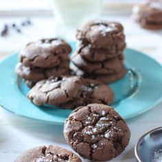 Double Chocolate Cookies with Sea Salt Recipe Desserts with all-purpose flour, cocoa powder, baking soda, salt, white sugar, brown sugar, unsalted butter, large eggs, vanilla extract, semi-sweet chocolate morsels, sea salt