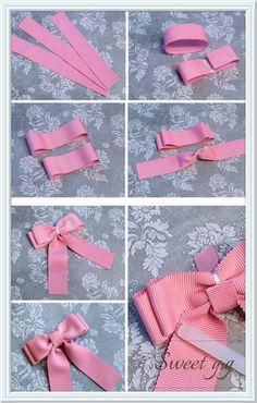 リボンの作り方 畝グログランリボン(ペタシャム)でダブルリボン color:ポンパドール・ピンク