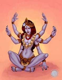 Outside the metaphorical meaning of her figure, Kali is represented as the consort of Shiva but also as a violent character woman who is sometimes calle. Indian Goddess, Kali Goddess, Mother Goddess, Saraswati Goddess, Kali Hindu, Hindu Art, Kali Tattoo, Mother Kali, Divine Mother