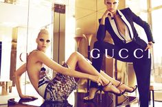 Abbey Lee Kershaw and Karmen Pedaru are fierce visions in the spring 2012 campaign from Gucci. Photographed by Mert & Marcus