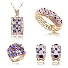 Austrian Crystal Set - Luxury queen ( Rose Gold   Tanzanite ) 4285