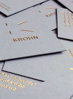 I like the playfulness and deconstruction of the K above Krohn. I like the gold on grey.