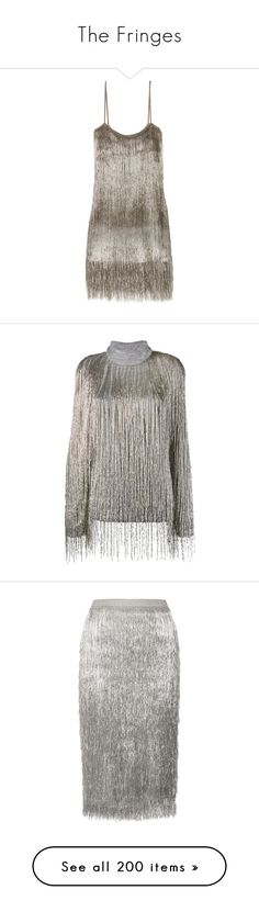 """The Fringes"" by jckyleeah ❤ liked on Polyvore featuring fringes, fringesbag, fringesskirt, fringesdress, dresses, rachel zoe, silver, metallic dress, brown fringe dress and short metallic dress"