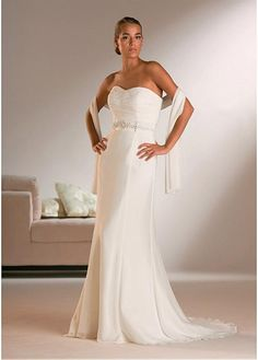 SHEATH SWEETHEART CHIFFON WEDDING DRESS LACE BRIDESMAID PARTY BALL EVENING COCKTAIL GOWN WHITE FORMAL PROM