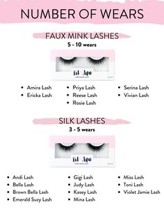 We do not have your basic false lashes at Red Aspen. Our lashes can be worn multiple times. If you take good care of them, they can even be worn more times that this chart states. Silk Lashes, Fake Lashes, Eyelashes, What Is Red, Oil Free Makeup, Full Makeup, Individual Lashes, Lash Glue, Natural Lashes