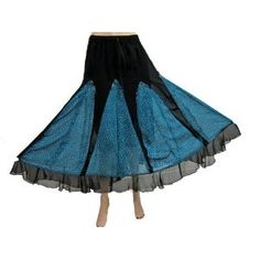 "Bohemian Gypsy Skirt Georgette Black Blue Printed Long Length Skirts 36"" (Apparel) http://www.amazon.com/dp/B00763SZZG/?tag=httpzachlagco-20 B00763SZZG"