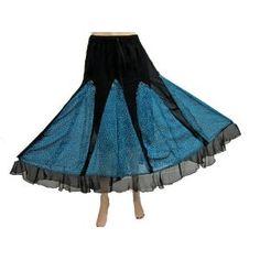 "Bohemian Gypsy Skirt Georgette Black Blue Printed Long Length Skirts 36"" (Apparel) http://www.amazon.com/dp/B00763SZZG/?tag=httpzachlagco-20 B00763SZZG"
