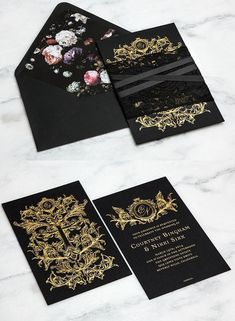 Black Lace and Gold Wedding Invitation Kits / http://www.deerpearlflowers.com/striking-gold-lace-wedding-invitations/ #weddinginvitation