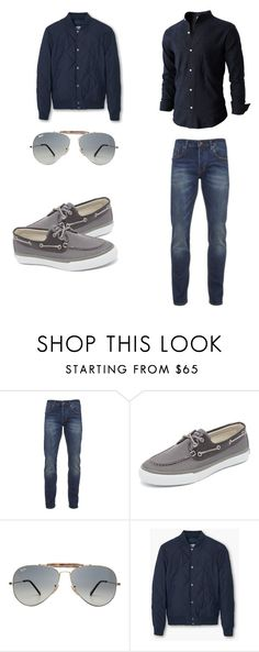 """Casual Men's Outfit"" by nabeelabdo on Polyvore featuring Scotch & Soda, Sperry Top-Sider, Ray-Ban, MANGO MAN, mens, men, men's wear, mens wear, male and mens clothing"