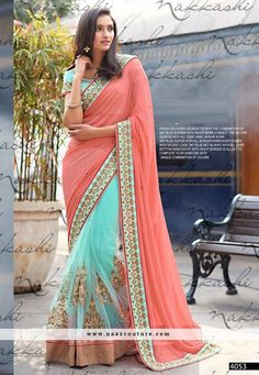 Haute Net And Georgette Designer Half N Half Saree