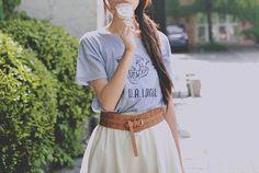 Asian fashion Korean; light blue printed tee, tan waist belt and high waisted white skirt