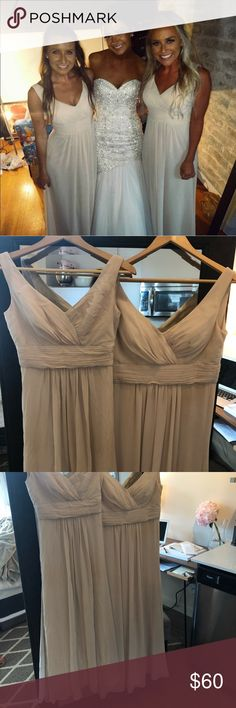2 bridesmaid dresses One is a size zero and one is a size 4! They are both from Nordstrom and were absolutely perfect for my wedding! They are a cream/tanish color. There is a little smudge on the size 4 on the breast area (as shown in pics) Dresses Wedding