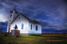 A church in a field.