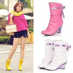 Free Shipping Women's Shoes Flower Bowknot Rain Boots 6cm Wedge Heel Ankle Boots